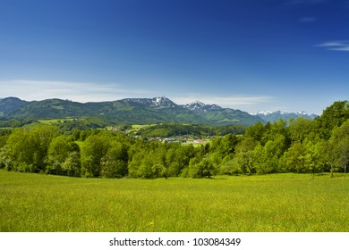 beautiful bavarian mountain view of the alps