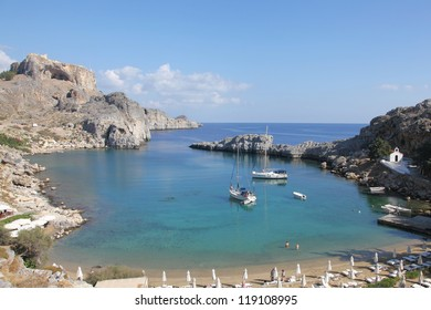 beautiful bay of Apostle Paul near Lindos on the island of Rhodes, Greece