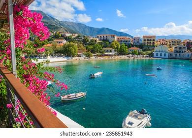 Beautiful bay in Assos fishing village on coast of Kefalonia island, Greece