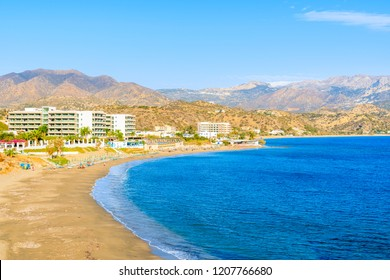 Beautiful bay with beach in Karpathos town on Karpathos island, Greece