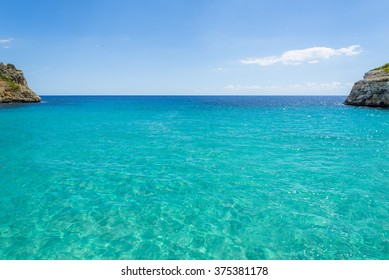 beautiful bay, blue water and clear sky. at mallorca