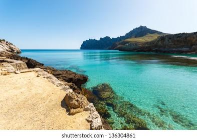 Beautiful bay of Cala San Vicente, Majorca island, Spain