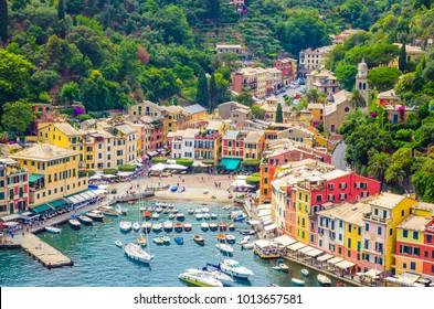 Beautiful bay with colorful houses in Portofino,  Liguria, Italy