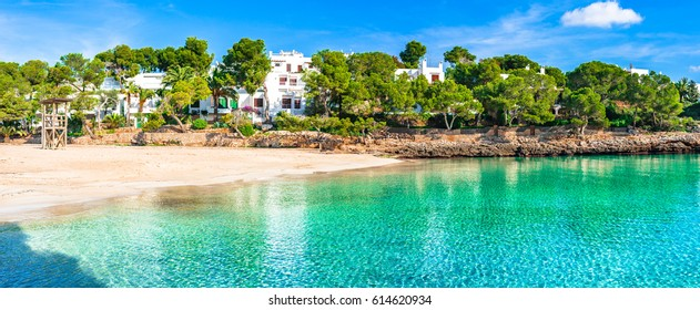 Beautiful bay cove Cala Gran, idyllic beach Majorca at Cala D'or, Spain Mediterranean Sea, Balearic Islands.