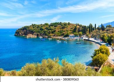 Beautiful bay with fishing port on Samos island, Greece