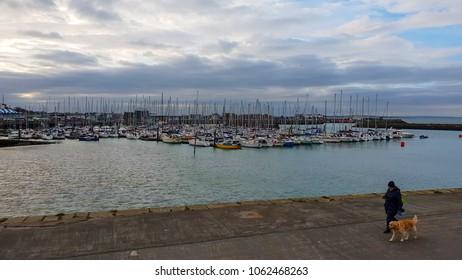 The beautiful bay of Howth - a beautiful village near Dublin - DUBLIN / IRELAND - MARCH 21, 2018