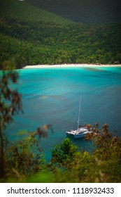 Beautiful bay in island with green hills and yachts, St. John US Virgin Islands
