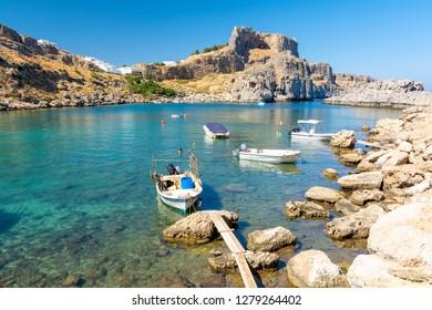 beautiful bay in Lindos on Rhodes island, Greece