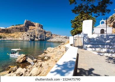 beautiful bay in Lindos on Rhodes island, Greece