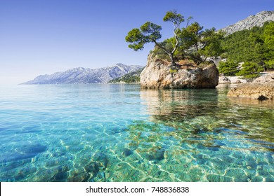 Beautiful bay near Brela town, Makarska rivera, Dalmatia, Croatia