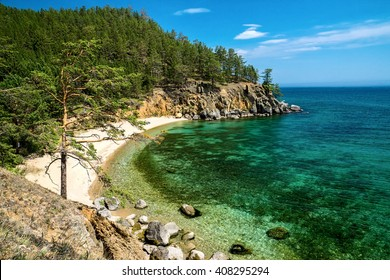 Beautiful bay on lake Baikal, sunny day