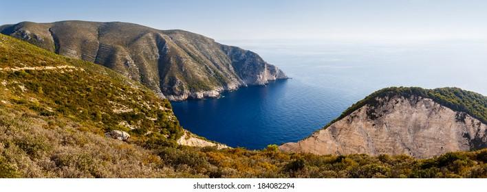 Beautiful Bay Panorama in Zakynthos Island, Greece. Place nearby Navagio Beach