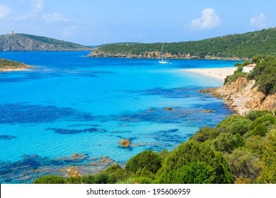 Beautiful bay with sandy Teulada lagoon beach, Sardinia island, Italy