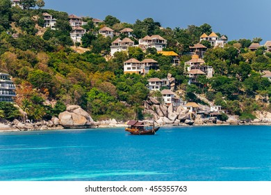 Beautiful Bay Shore Turquoise Ocean Tropical Island with Resort on the Mountain Scenery View Point in Koh Tao Nang Yuan Thailand.