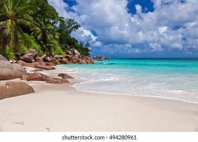 Beautiful beach Anse Georgette at Praslin island, Seychelles