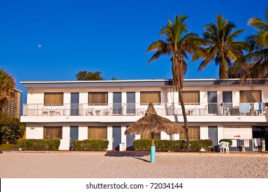 beautiful beach with appartments at Sunny Islands, Miami early morning