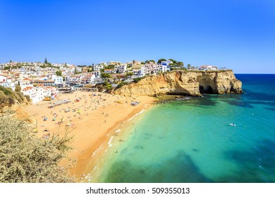 Beautiful beach and architecture in Carvoeiro, Algarve, Portugal