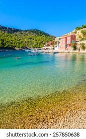 Beautiful beach in Assos village, Kefalonia island, Greece