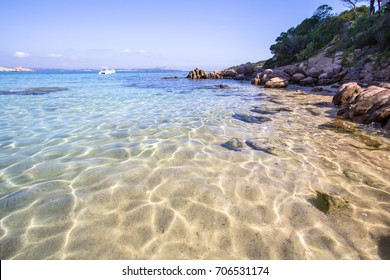 Beautiful beach at Baja Sardinia in Sardinia, italy