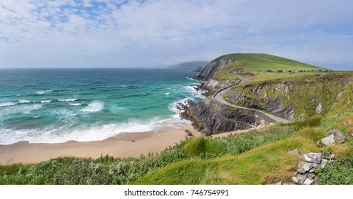 Beautiful beach between Slea Head and Dunmore Head at Slea Head Drive,  one of Irelands most scenic routes, Dingle peninsula, Kerry, Ireland
