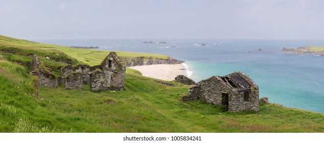 Beautiful beach at Blasket Island with ancient ruins near Slea Head Drive,  one of Irelands most scenic routes, Dingle peninsula, Kerry, Ireland