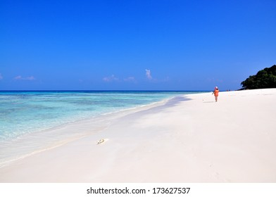 Beautiful beach with blue sea and sky located at Tachai island, South of Thailand