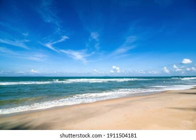 Beautiful beach with blue sky.
