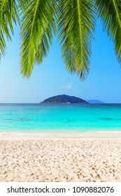 Beautiful beach and blue sky in Similan islands, Thailand. Vacation holidays background wallpaper. View of nice tropical beach. Travel summer holiday background concept.