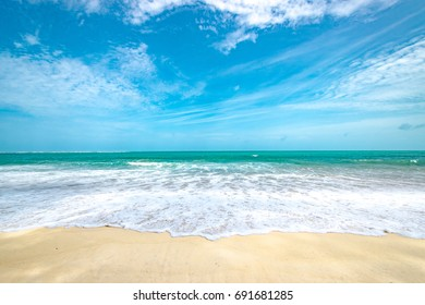 Beautiful beach in blue sky with wave // nobody