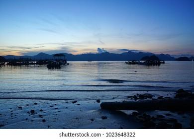 Beautiful beach and blue sunset