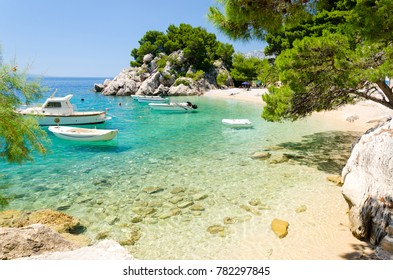 beautiful beach in Brela on Makarska riviera, Dalmatia, Croatia