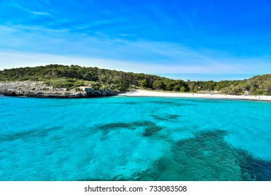 Beautiful Beach of Cala S'Amarador at Mondrago - Natural Park on Majorca Spain, Balearic Islands, Mediterranean Sea, Europe