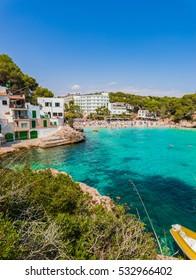 Beautiful beach of Cala Santanyi, Majorca island, Mediterranean Sea.