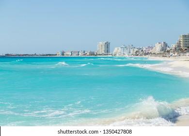 Beautiful beach in Cancun, Zona Hotelera. Caribbean coast, Yucatan, Mexico