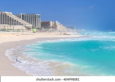 Beautiful beach in Cancun, Zona Hoteliera. Caribbean coast, Yucatan, Mexico