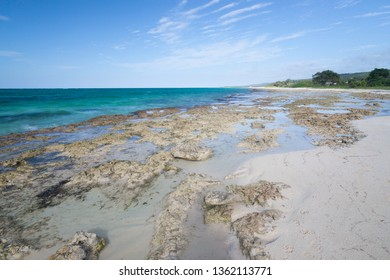Beautiful beach with clear blue skies. Summer vacation travel holiday concept. Luxury Travel.