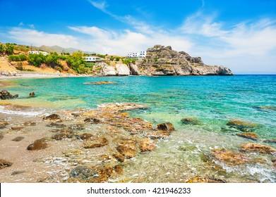 Beautiful beach with clear turquoise water. Crete island, Greece.