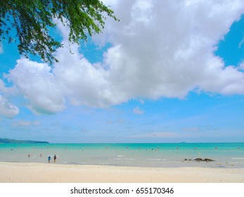 Beautiful beach with clouds