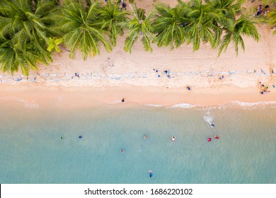 Beautiful beach with coconut trees and sea water And many people