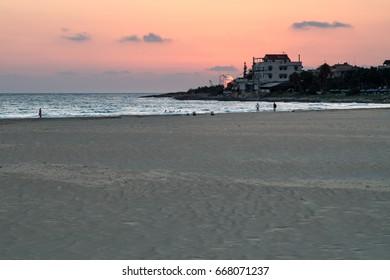 Beautiful beach of Donnalucata at sunset, Ragusa, Sicily, Italy