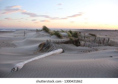 beautiful beach dunes at sunset at the Mediterranean sea in Camargue in south of France