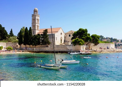 Beautiful beach at the Franciscan Monastery in Hvar Town and island in Croatia