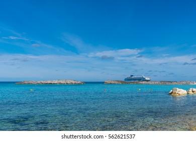 Beautiful beach in Great Stirrup cay island, Bahamas