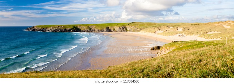 The beautiful beach at Holywell Bay on the North Cornwall coast, England UK