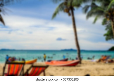 beautiful beach and kayak on blue sky.blur background