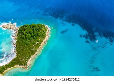 Beautiful beach in Kefalonia, Ionian Islands, Greece. Aerial view
