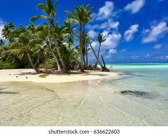 Beautiful beach and lagoon at atoll named Tetiaroa, Tahiti, French Polynesia