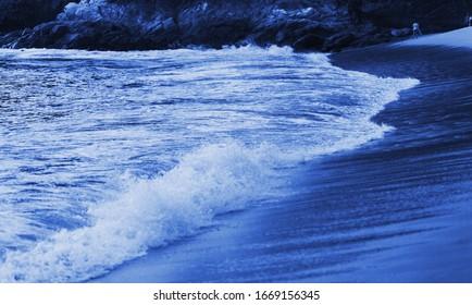 Beautiful beach landscape in the blue dusk