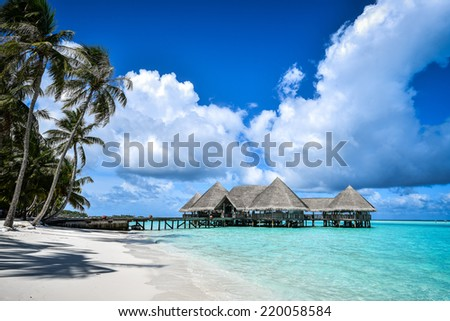 Beautiful beach landscape at Gili Lankanfushi in the Maldives