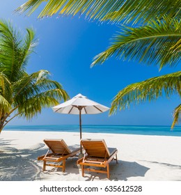 Beautiful beach landscape. Idyllic tropical scenery for background or wallpaper. Design of tourism for summer vacation holiday concept.